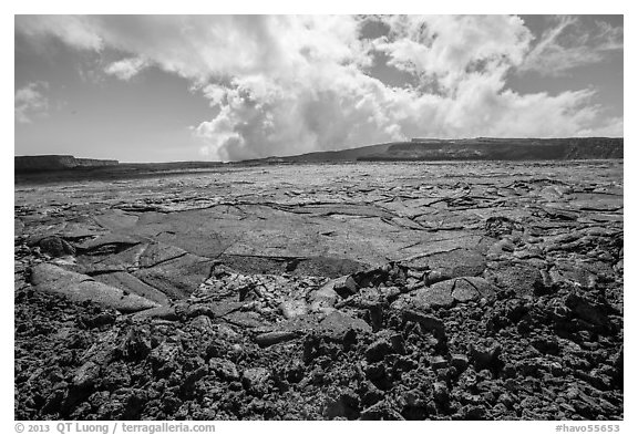 Mauna Loa Summit Crater from North Pit. Hawaii Volcanoes National Park (black and white)