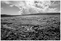 Mauna Loa Summit Crater from North Pit. Hawaii Volcanoes National Park, Hawaii, USA. (black and white)