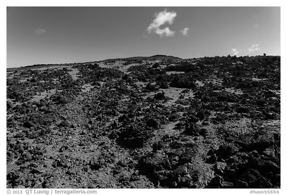 Blocks of aa lava and olivine sand, North Pit, Mauna Loa. Hawaii Volcanoes National Park (black and white)