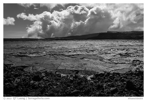 Mokuaweoweo crater and clouds, Mauna Loa. Hawaii Volcanoes National Park (black and white)