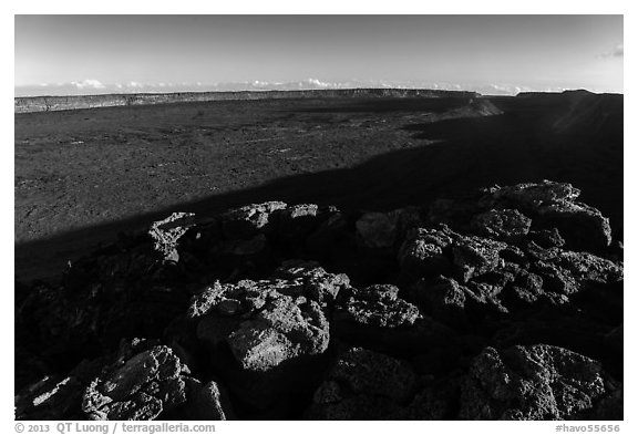 Mokuaweoweo caldera with late afternoon shadows. Hawaii Volcanoes National Park (black and white)