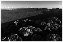 Mokuaweoweo caldera with late afternoon shadows. Hawaii Volcanoes National Park, Hawaii, USA. (black and white)