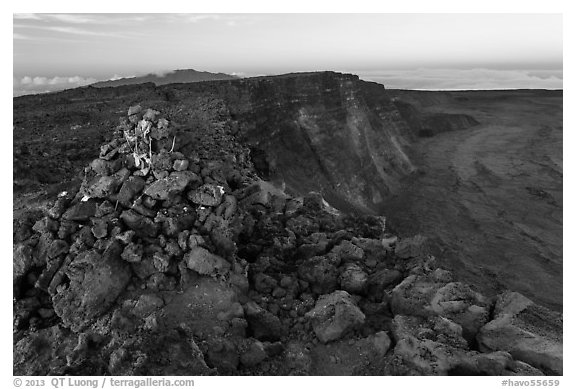 Summit cairn and crater at dusk. Hawaii Volcanoes National Park (black and white)