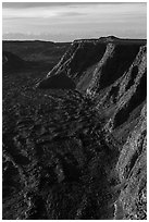 Tall cliffs seen from Mauna Loa summit. Hawaii Volcanoes National Park ( black and white)