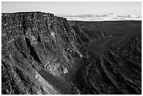 Mauna Loa summit cliffs. Hawaii Volcanoes National Park ( black and white)