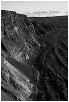 Summit cliffs, Mauna Loa. Hawaii Volcanoes National Park ( black and white)