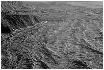 Lava which flowed in the 1980s in Mokuaweoweo crater. Hawaii Volcanoes National Park, Hawaii, USA. (black and white)