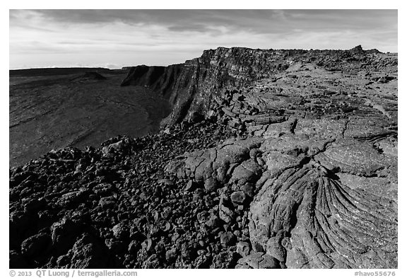 Lava and Mokuaweoweo caldera. Hawaii Volcanoes National Park (black and white)