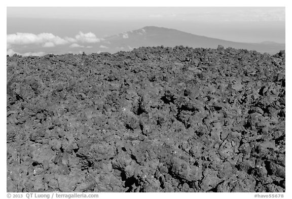 Aa lava field on Mauna Loa and Puu Waawaa summit. Hawaii Volcanoes National Park (black and white)