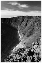 Mauna Loa summit rising above  Mokuaweoweo crater. Hawaii Volcanoes National Park, Hawaii, USA. (black and white)