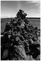 Mauna Loa summit cairn festoned with ritual offerings. Hawaii Volcanoes National Park ( black and white)