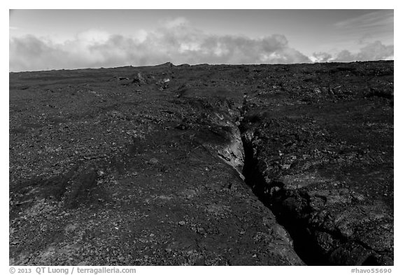 Lava fissure, Mauna Loa North Pit. Hawaii Volcanoes National Park (black and white)