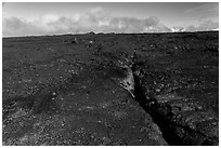 Lava fissure, Mauna Loa North Pit. Hawaii Volcanoes National Park ( black and white)