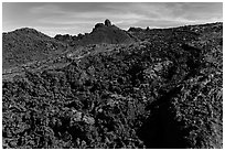 Field of aa lava, Mauna Loa. Hawaii Volcanoes National Park, Hawaii, USA. (black and white)