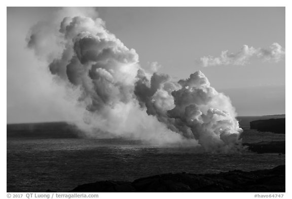 Multiple plumes from lava ocean entry. Hawaii Volcanoes National Park (black and white)