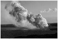 Multiple plumes from lava ocean entry. Hawaii Volcanoes National Park ( black and white)