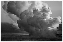 Plume from lava ocean entry. Hawaii Volcanoes National Park ( black and white)