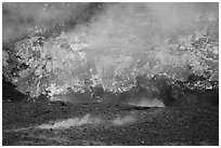 Lava fountains, fumeroles, and venting plume, Halemaumau crater. Hawaii Volcanoes National Park ( black and white)