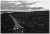 Aerial view of park boundary and emergency road. Hawaii Volcanoes National Park ( black and white)