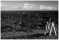 Coastal lava viewing area from emergency road. Hawaii Volcanoes National Park ( black and white)