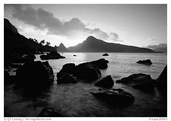 Sunrise from the South Beach, Ofu Island. National Park of American Samoa (black and white)
