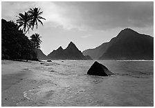 Sunuitao Peak and Piumafua mountain on Olosega Island from the South Beach, Ofu Island. National Park of American Samoa ( black and white)
