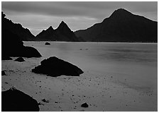 Beach and pointed peaks at dusk, Ofu Island. National Park of American Samoa ( black and white)