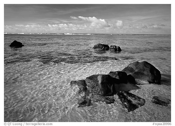 Volcanic boulders and Reef, Ofu Island. National Park of American Samoa (black and white)
