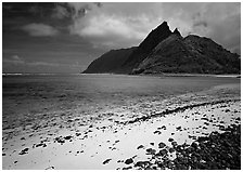 Sand beach and Ofu Island seen from Olosega. National Park of American Samoa ( black and white)