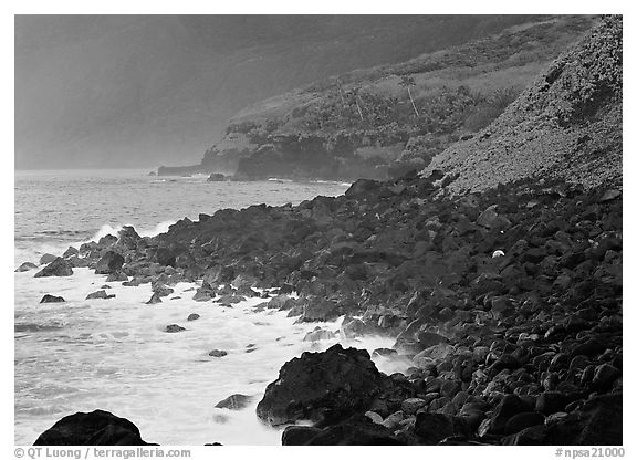 Coastline with Balsalt boulders on the wild South coast of Tau Island. National Park of American Samoa (black and white)