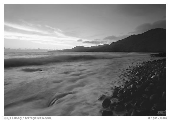 Vatia Bay at dawn, Tutuila Island. National Park of American Samoa (black and white)