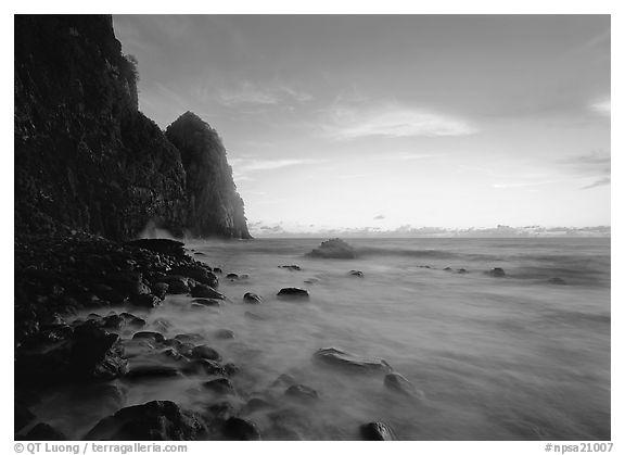 Pola Island at dawn, Tutuila Island. National Park of American Samoa (black and white)