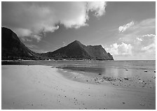 Sand beach in Vatia Bay, Tutuila Island. National Park of American Samoa (black and white)