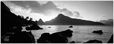 Coastline with boulders at sunrise, Ofu Island. National Park of American Samoa (Panoramic black and white)