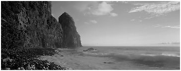 Coastline with tall seacliff, early morning, Tutuila Island. National Park of American Samoa (Panoramic black and white)