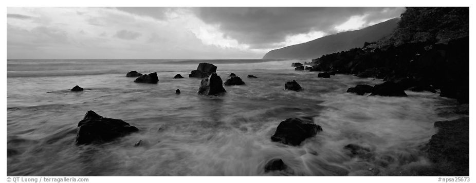 Dynamic seascape with boulders and surf, Tau Island. National Park of American Samoa (black and white)