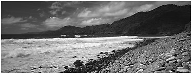 Beach with coral, Tutuila Island. National Park of American Samoa (Panoramic black and white)