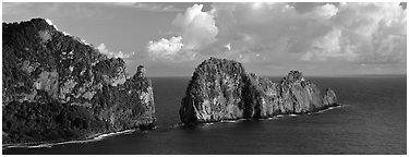 Pola Island, Tutuila Island. National Park of American Samoa (Panoramic black and white)