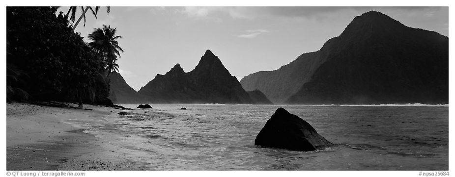 Tropical peaks raising abruptly above beach, Ofu Island. National Park of American Samoa (black and white)