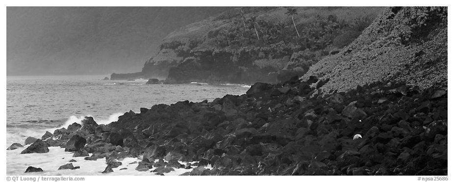 Coastline of Volcanic boulders, Tau Island. National Park of American Samoa (black and white)