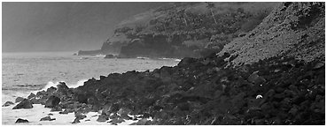 Coastline of Volcanic boulders, Tau Island. National Park of American Samoa (Panoramic black and white)