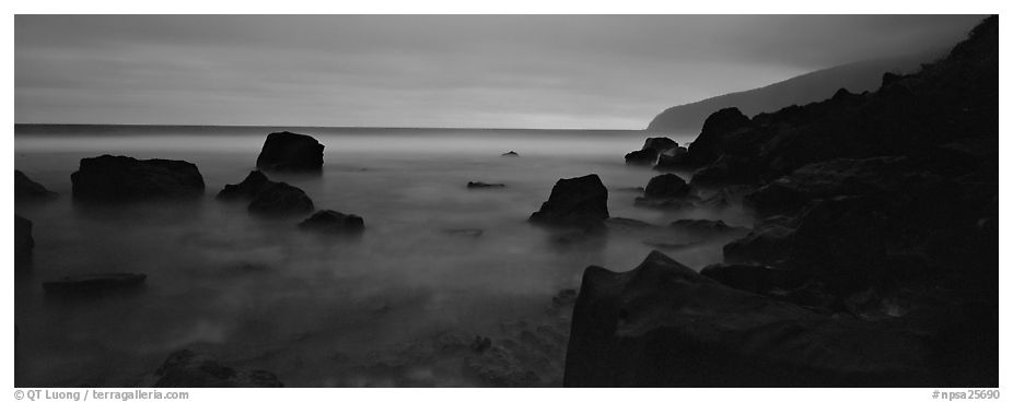 Rugged coastline at dusk. National Park of American Samoa (black and white)