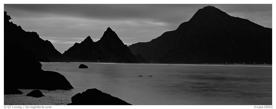 Bay with coastal peaks at dusk. National Park of American Samoa (black and white)