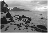Balsalt boulders on South Beach, Ofu Island. National Park of American Samoa ( black and white)