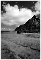 Ofu Island seen from the Asaga Strait. National Park of American Samoa (black and white)
