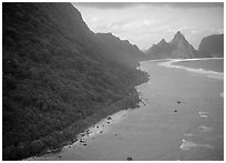 Aerial view of the South side of Ofu Island. National Park of American Samoa (black and white)