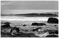 Boulders and surf, Tau Island. National Park of American Samoa ( black and white)