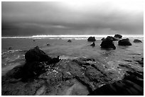 Approaching storm over ocean, Siu Point, Tau Island. National Park of American Samoa (black and white)