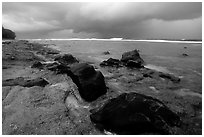 Approaching storm, Siu Point, Tau Island. National Park of American Samoa ( black and white)