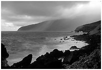 Seascape with dark rocks and sky, Siu Point, Tau Island. National Park of American Samoa (black and white)